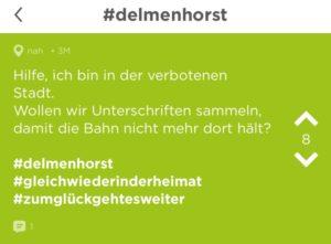 Screenshot Jodel App, Delmenhorst bekommt seinen schlechten Ruf vermehrt über die anonyme App Jodel zu spüren